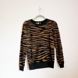 Philosophy Black and Brown Tiger Stripe Sweater XS